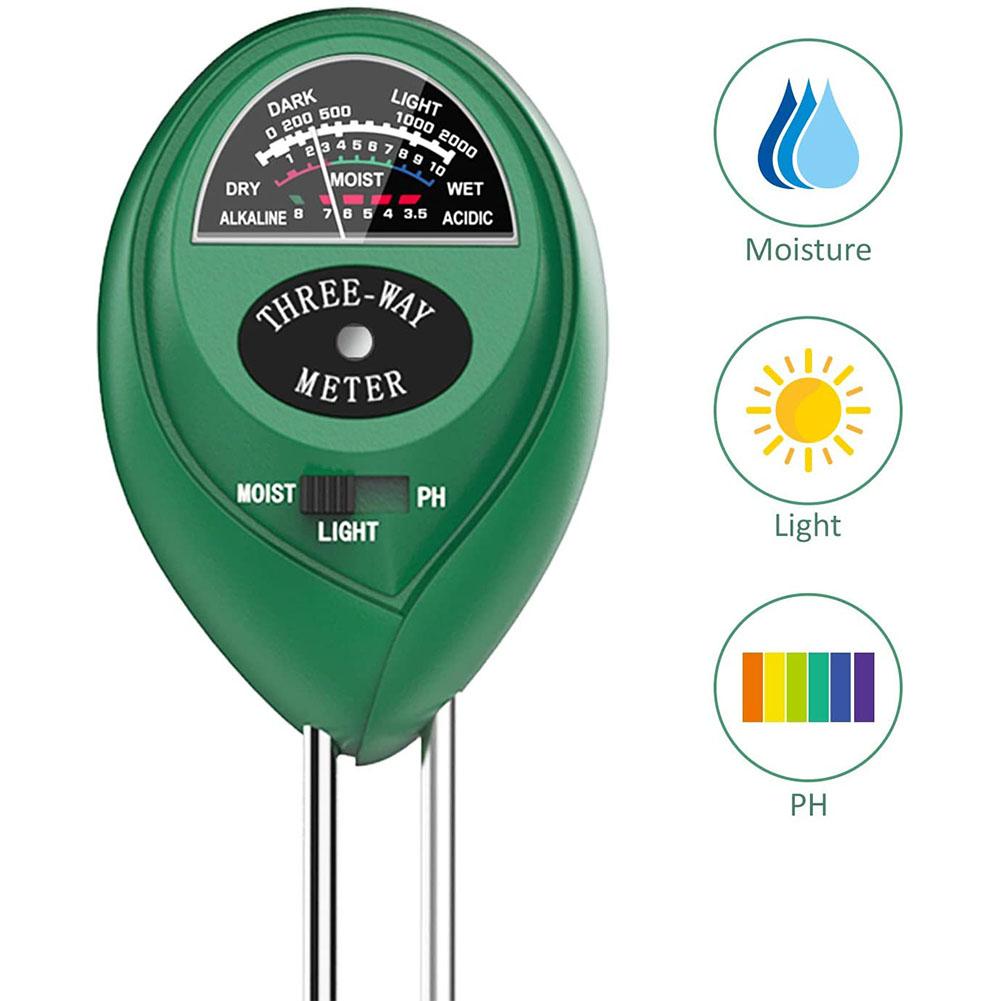 Three-in-one Round Gardening PH Soil Tester Hygrometer Illuminance Tester 1pcs