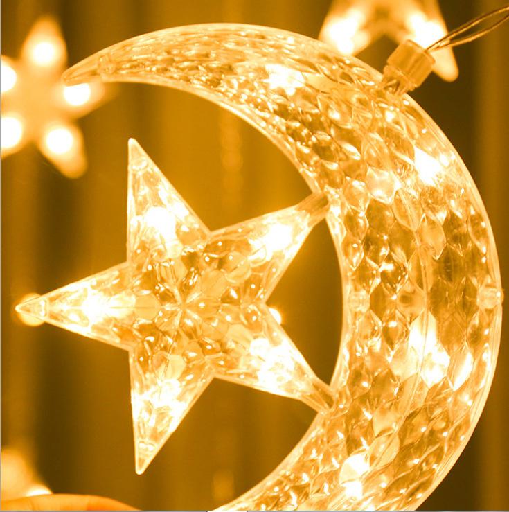 3.5m LED Light String Atmosphere Lamp Star Moon Waterproof PVC Curtain Decoration Light