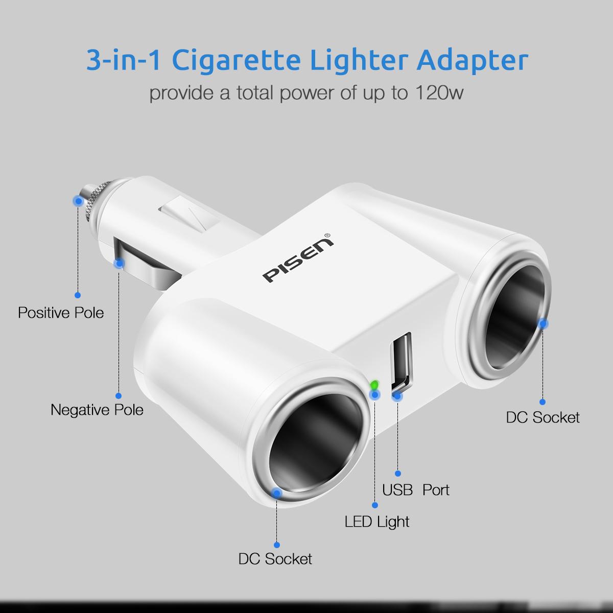 [US Direct] Original PISEN Cigarette Lighter Charger, Dual Cigarette Lighter Sockets, 1 USB Port, 12V/24V Power Adapter (White) white