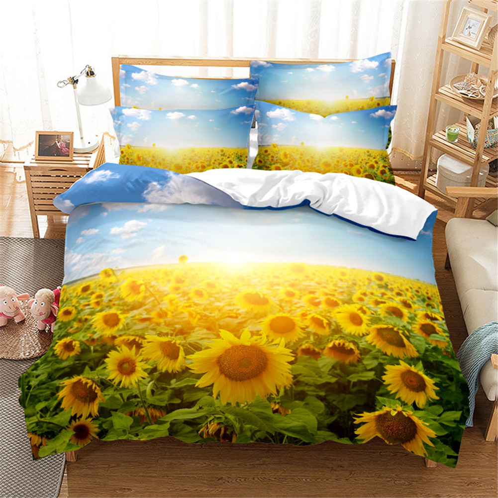 2Pcs/3Pcs Full/Queen/King Quilt Cover +Pillowcase Set with 3D Digital Flower Printing FUll