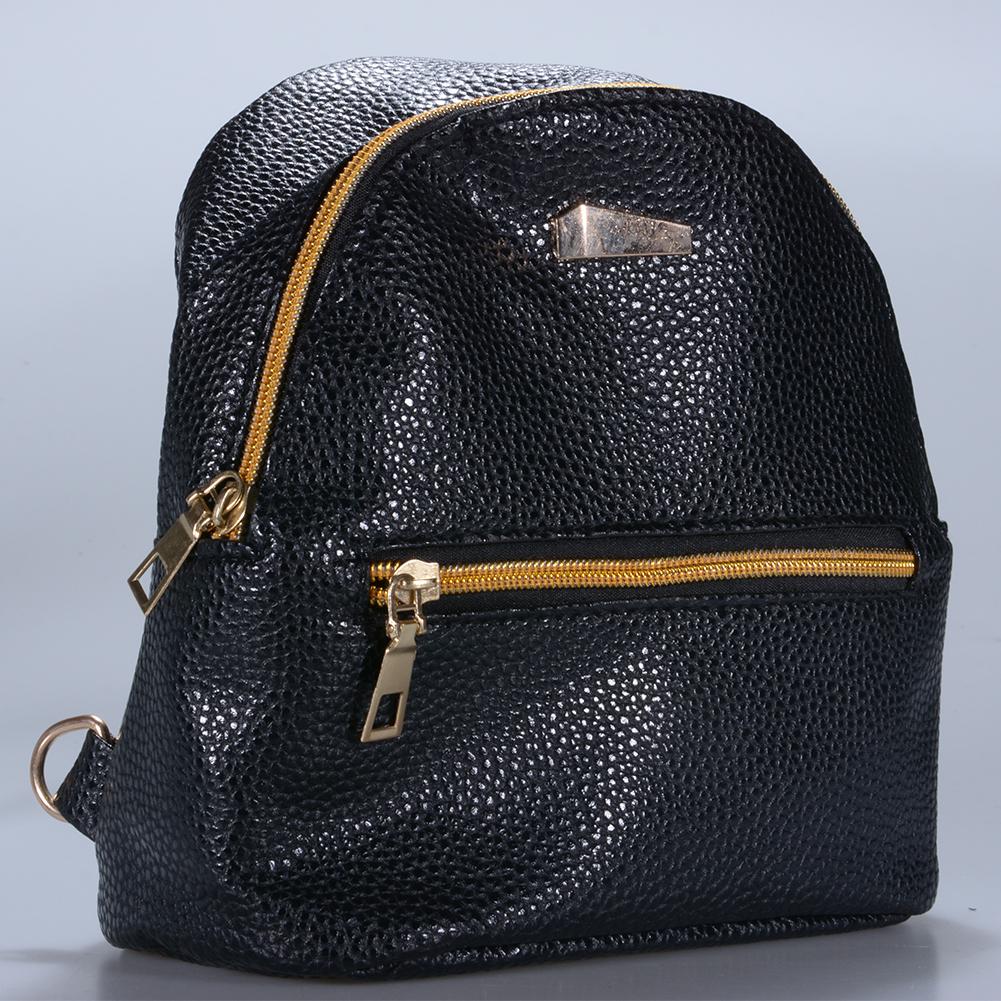 [EU Direct] Women's PU Leather Travel Backpack Girls Candy Color Shoulder Bag Casual Daypack Black