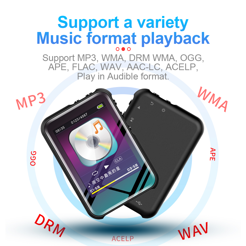 M16 Bluetooth Portable MP3 Player HIFI Sport Music Speakers MP4 Media FM Radio Recorder for Students English Learning 16 GB
