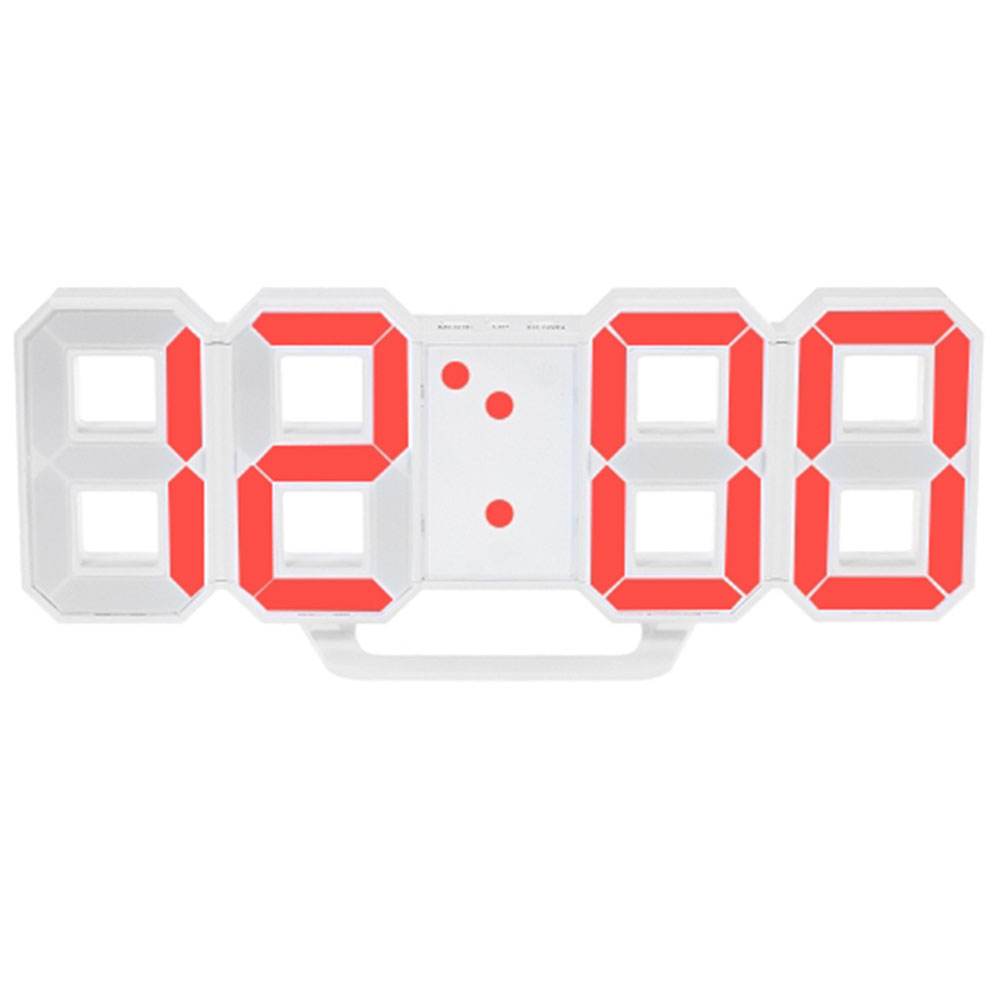LED Wall Clock Alarm Clock Digital 3D Living Room Explosion Models Electronic Clock red