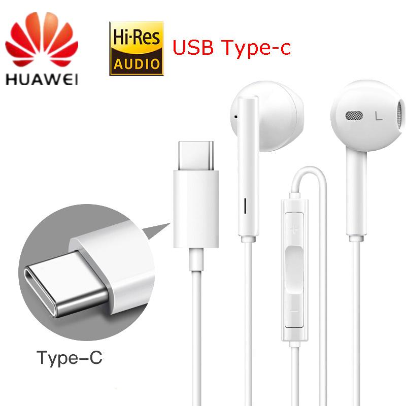 HUAWEI CM33 Earphone USB Type-C In Ear Earphone Headset Mic Volume for HUAWEI Mate 10Pro 20 X RS P20 30 Note 10 white