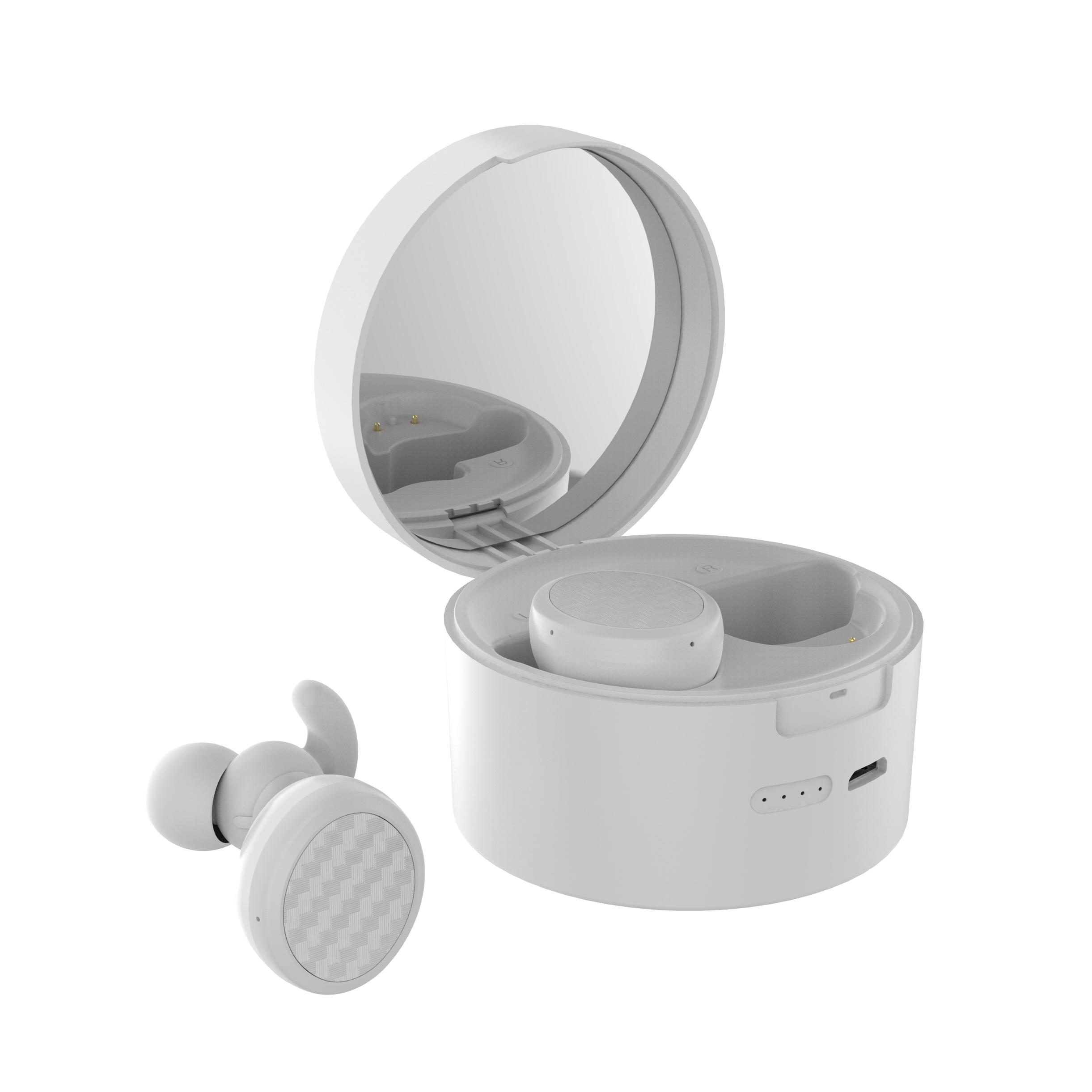 TWS Bluetooth Earphone Cosmetic Mirror 5.0 Earplugs Stereo Wireless Headset Phone Bracket white