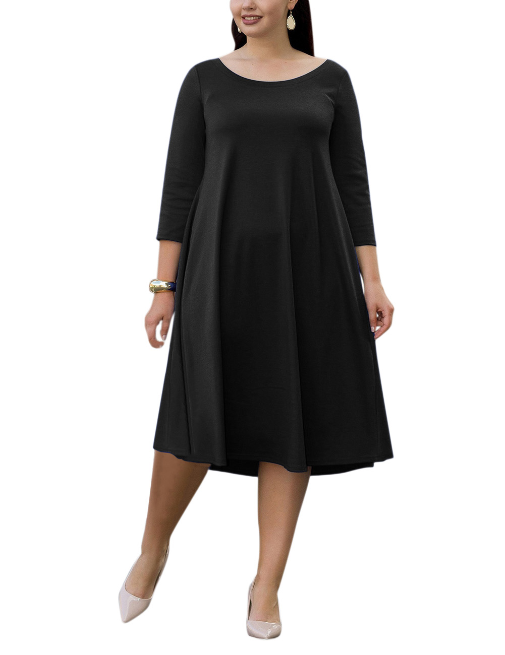 Women Plus Size Scoop Neck Swing Midi Dress