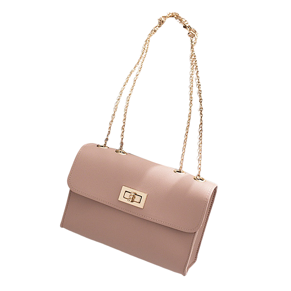 Woman Chic Single Shoulder Cross Body Satchel with Lock Catch Pink