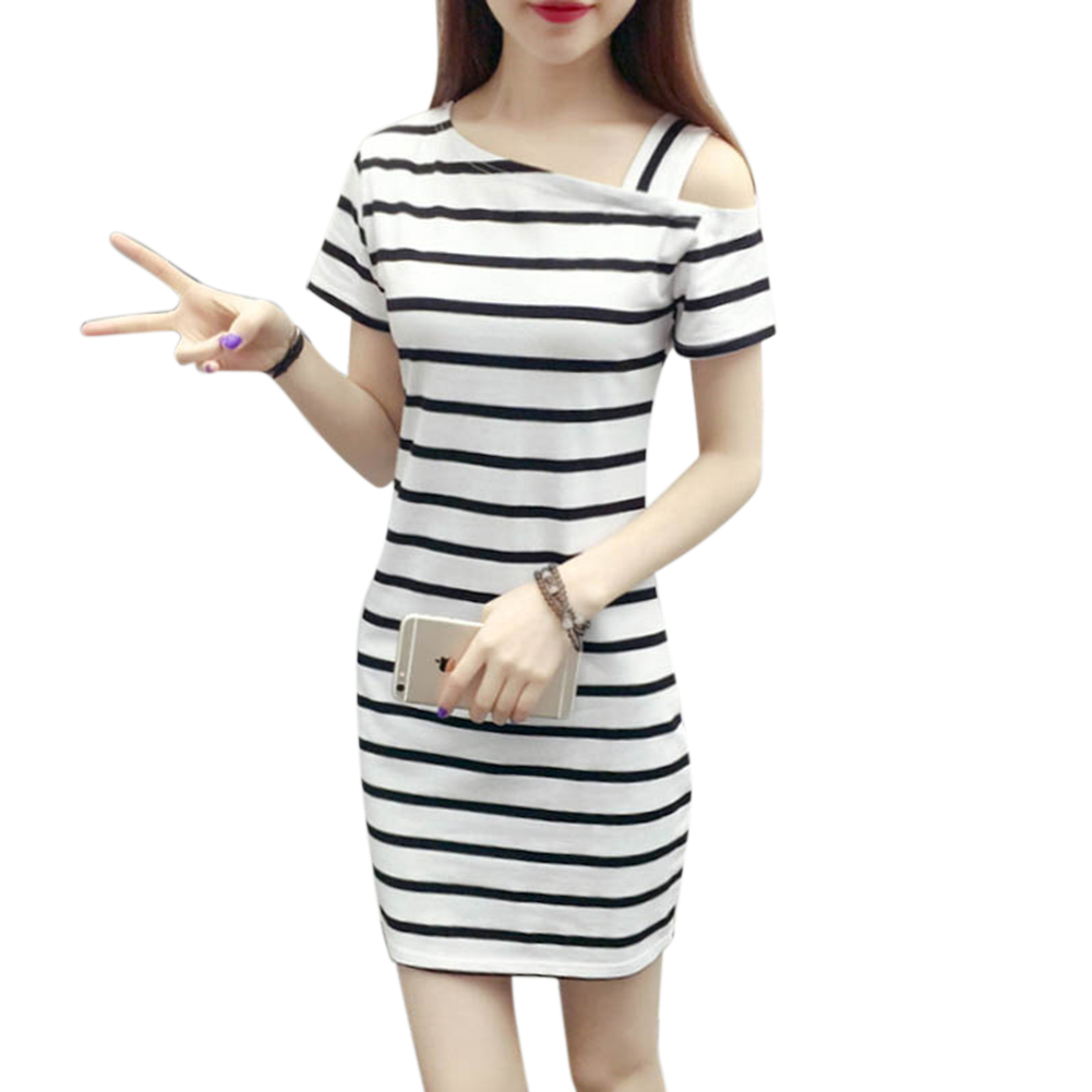 Women Stripe Printing Pullover Dress