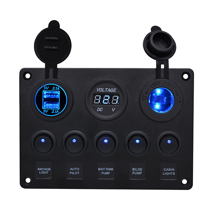 Multi-function 5 Gang Rocker Dual Usb Charger + Digital Volmeter +12v Outlet Pre-wired Switch Panel With Circuit Breakers Round Illuminated Switch+Cigarette Lighter Base+Dual USB+Voltmeter Combination Panel [Blue]