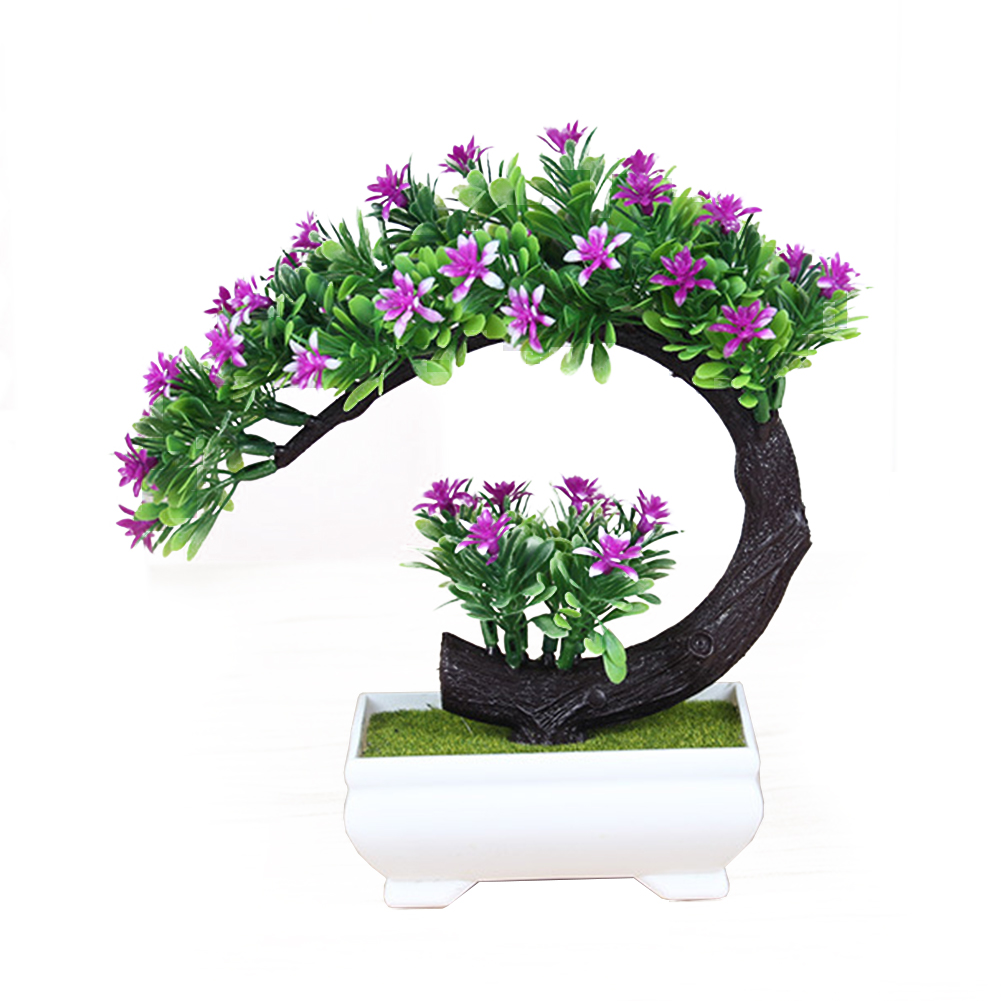 Creative Artificial Flower Bonsai Simulation Fake Plants for Home Office Decoration red lotus