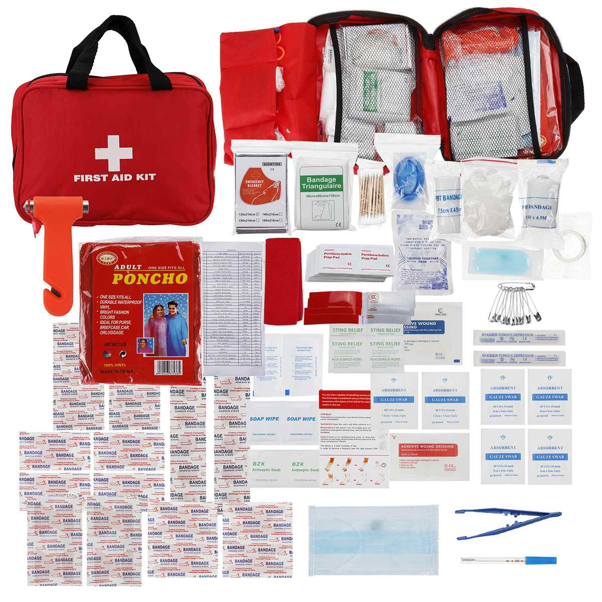 234Pcs/Set SOS Emergency Camping Survival Equipment Small First Aid Kit Portable Travel Medicine Bag As shown