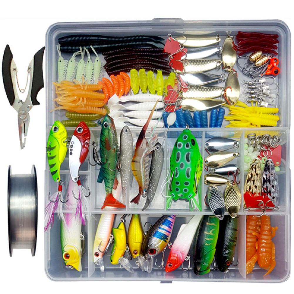 280 Pcs/Set fishing lure Set Sequin Minnow Frog Full Swimming Layer Fishing Bait 280 pieces (random sample color) + wire + pliers