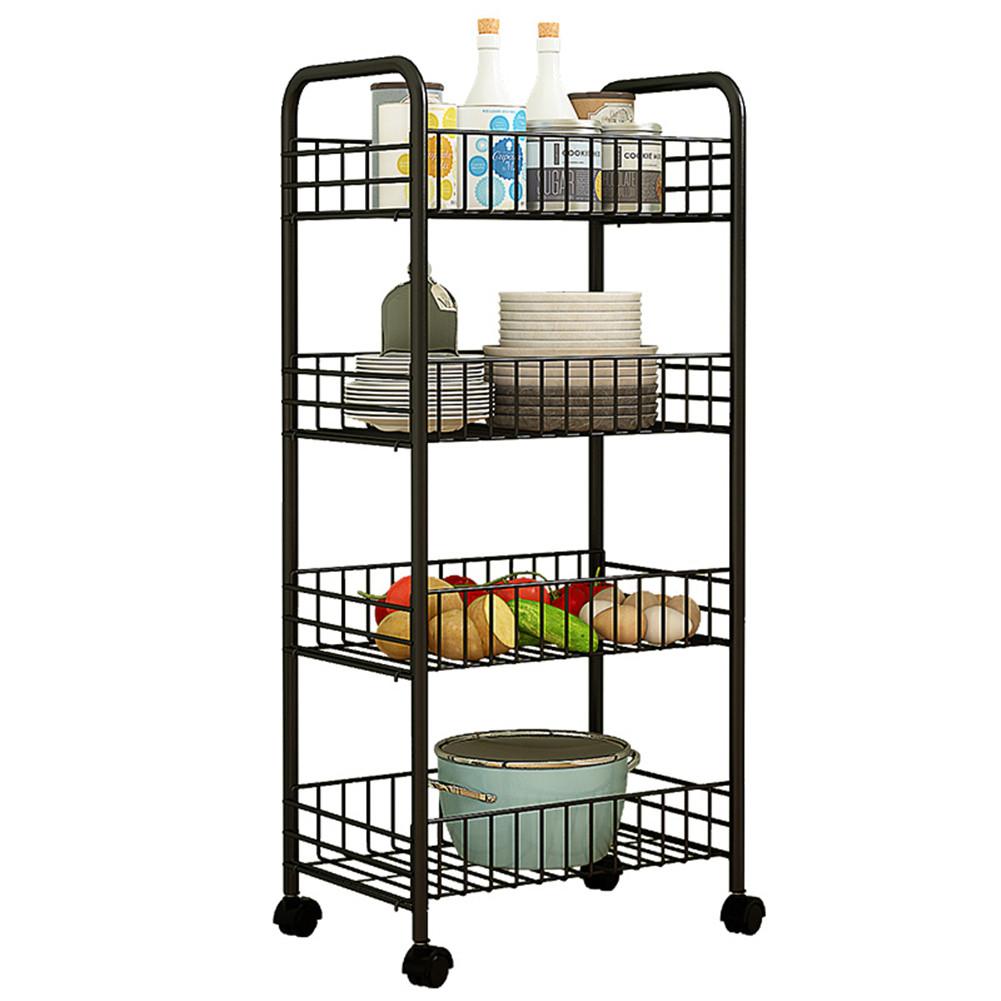Trolley Storage Rack Removable Shelf for Living Room Bedroom Kitchen Bathroom black_Four layers