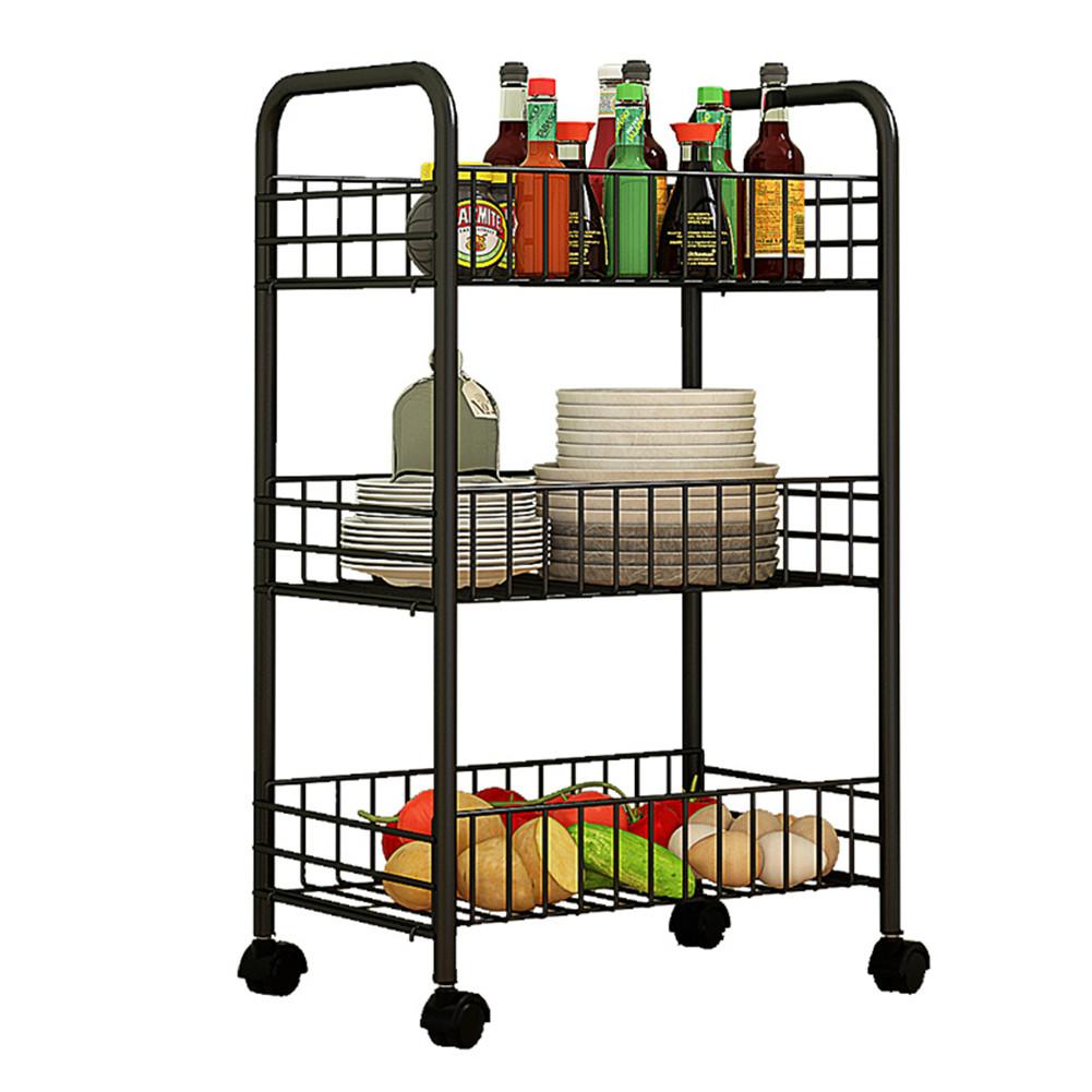 Trolley Storage Rack Removable Shelf for Living Room Bedroom Kitchen Bathroom black_Three layers