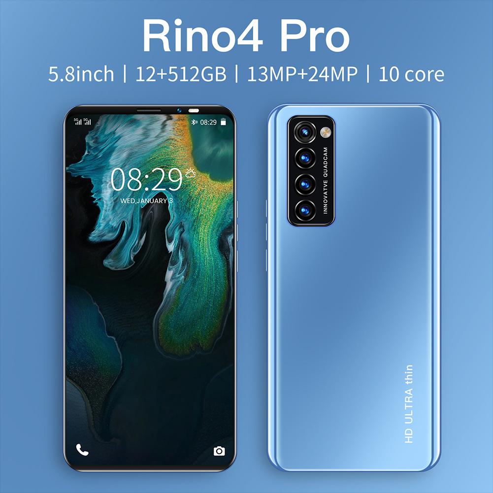Smart Phone HD+ Full Screen Rino4 Pro 5.8 Inches 512MB RAM+4GB ROM  Facial Recognition Smart  Phone Blue (EU Plug)