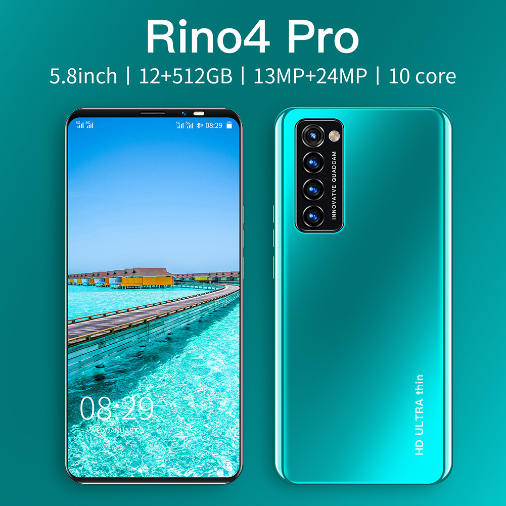 Smart Phone HD+ Full Screen Rino4 Pro 5.8 Inches 512MB RAM+4GB ROM  Facial Recognition Smart  Phone Green (EU Plug)