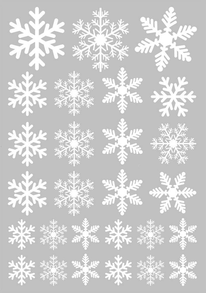 Christmas Red White Snowflake Stickers Window Glass Wall Decal Home Office Decor J301-white