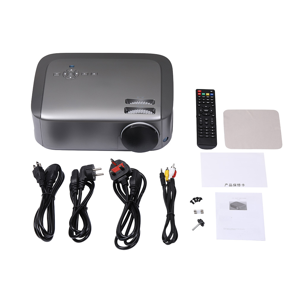 U68 Smart Projector LCD Video Portable Home Movie Theater 20000hrs LED Lamp Life 2HDMI AV VGA 2USB Interface Matte gray_Australian regulations