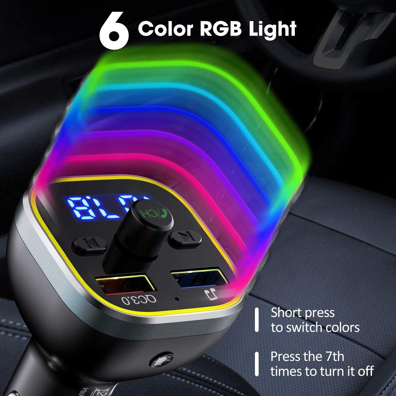 Car Fm Transmitter Car Mp3 Player Bluetooth 5.0 Receiver Dual Usb Car Charger U Disk Play Colorful