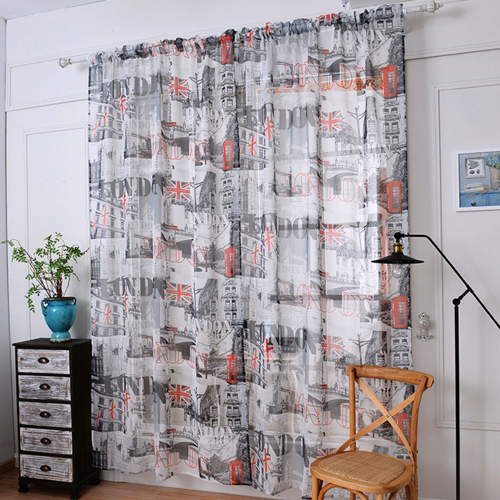 Door Window Tulle Curtain Drape Panel Sheer Scarf Valances Drapes In Living Room Home Decor 1.45 meters wide x 2 meters high
