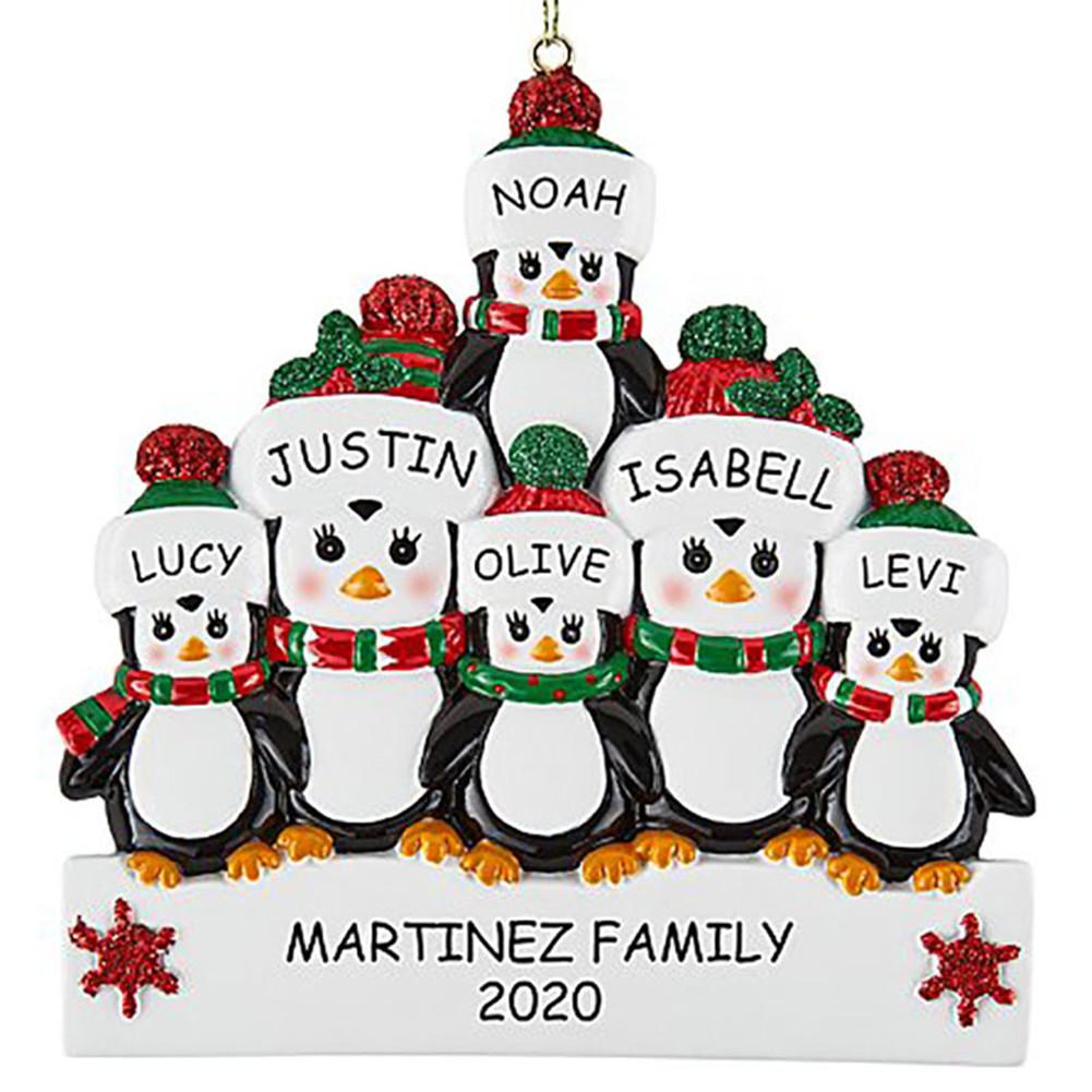 Christmas Decoration Penguin Hanging Ornament Pendant for DIY Name Family Blessings  Six penguins