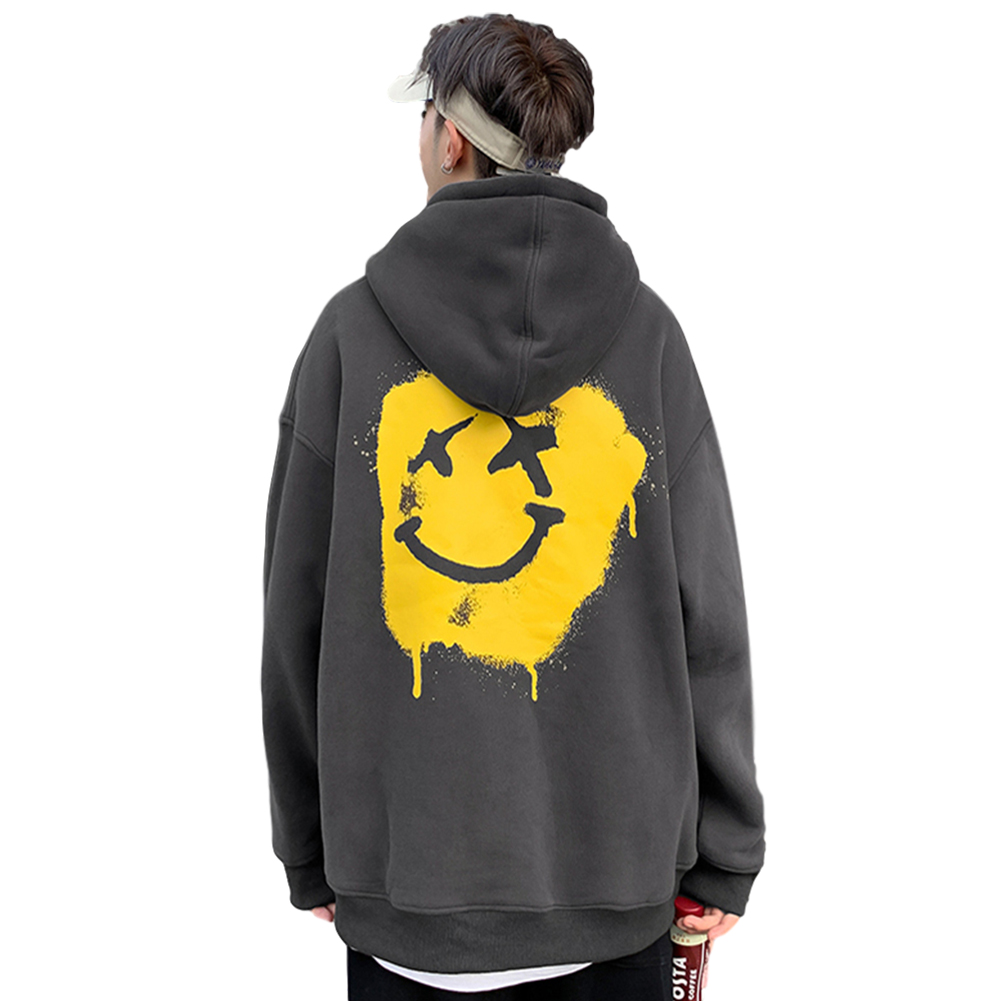 Men's Hoodie Autumn Smile-face Printing All-match Long-sleeve Hooded Sweater Dark gray_XL