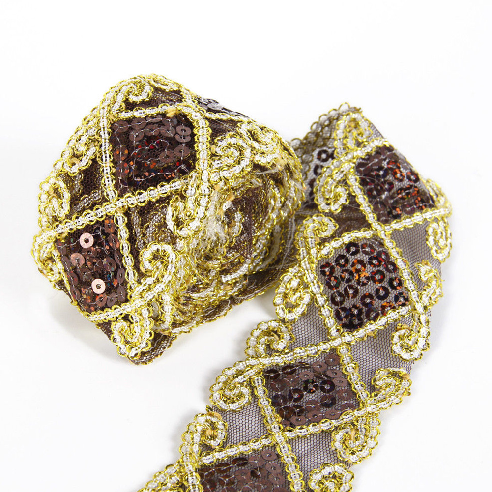Rhombus Double - colored Band  Sequins Ribbon Seam Edge Fabric Tape Curtain Decoration Accessories