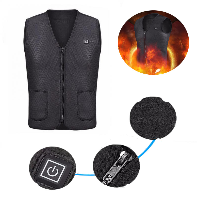 Men And Women Winter USB Warm Electric Jacket for Vest Hiking And Camping black_XXL