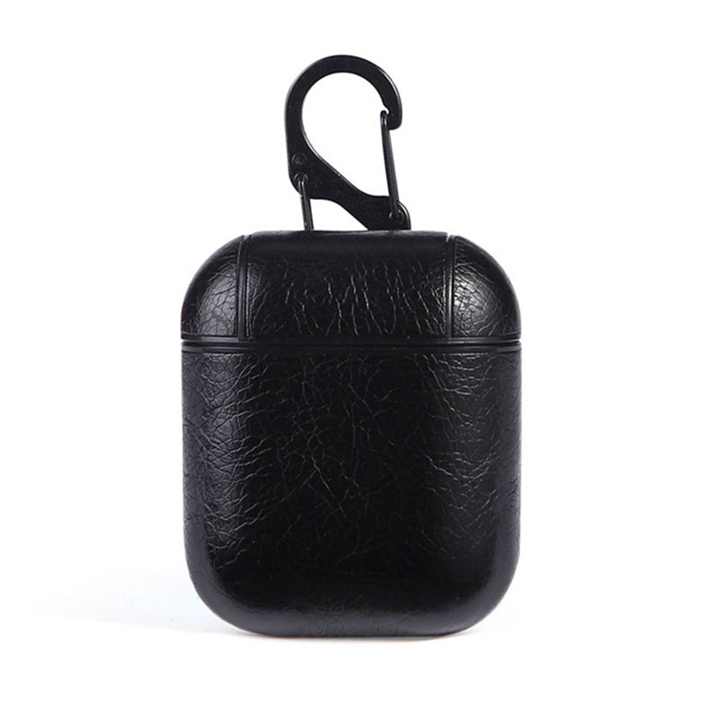 Leather Airpods Protective Case - Black