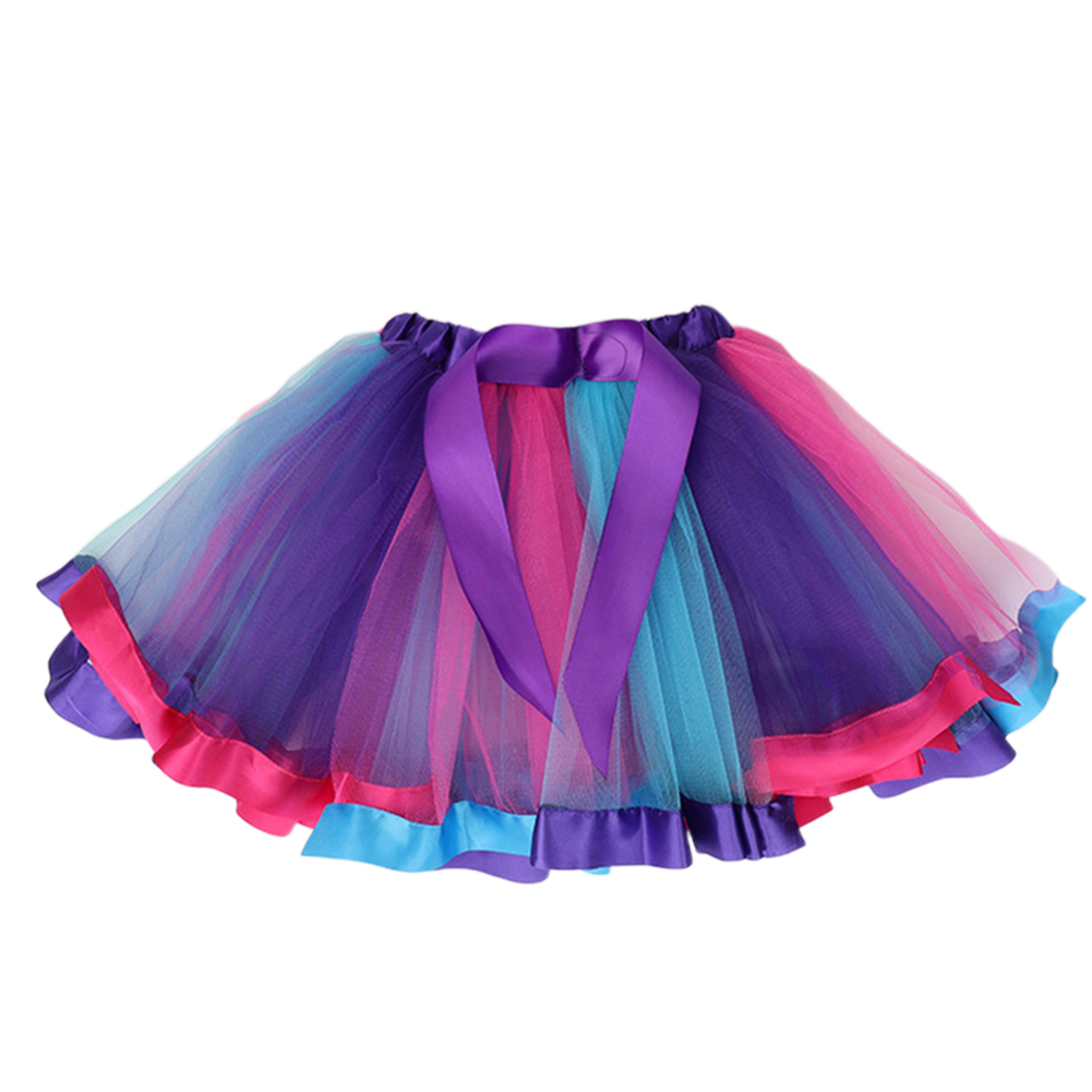 Girl Baby Cute Colorful Rainbow Mesh Princess Skirt for Holiday Party  Dark purple_M