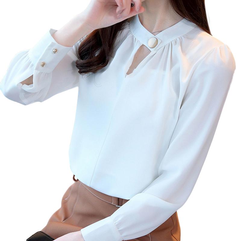 Women Shirt Spring Autumn Loose Stand Collar Shirt Sweet Style Long Sleeve Chiffon Shirt white_S
