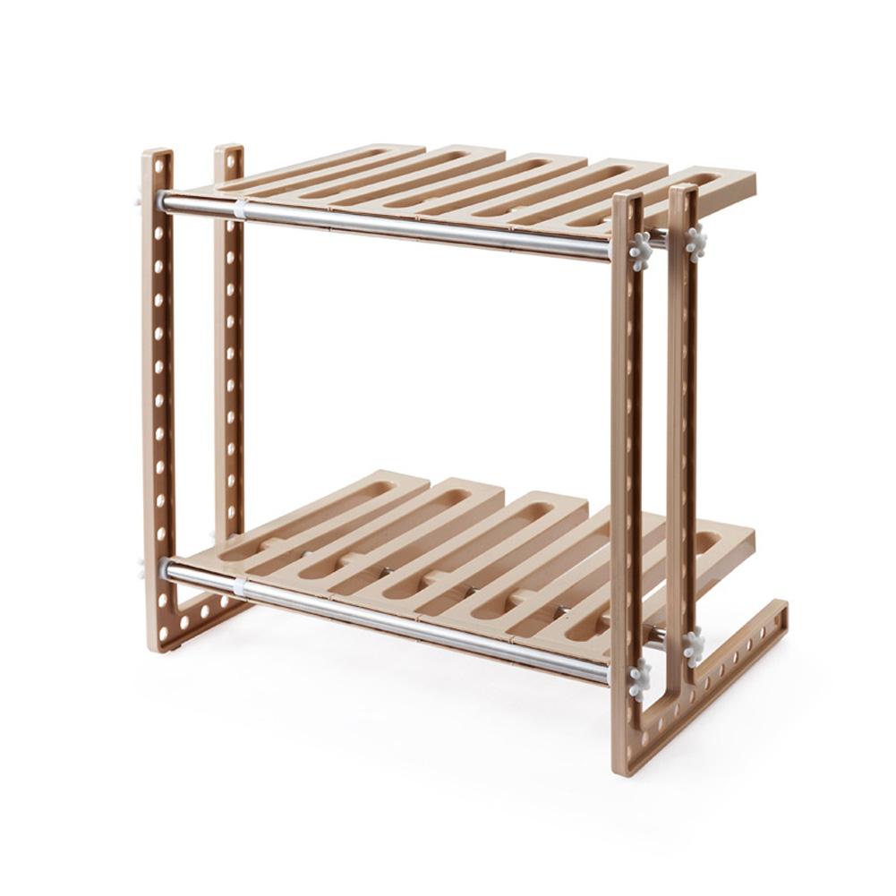 2 Layers Storage Rack Adjustable Kitchen Cupboard Shelf Organiser Cabinet Holder Khaki