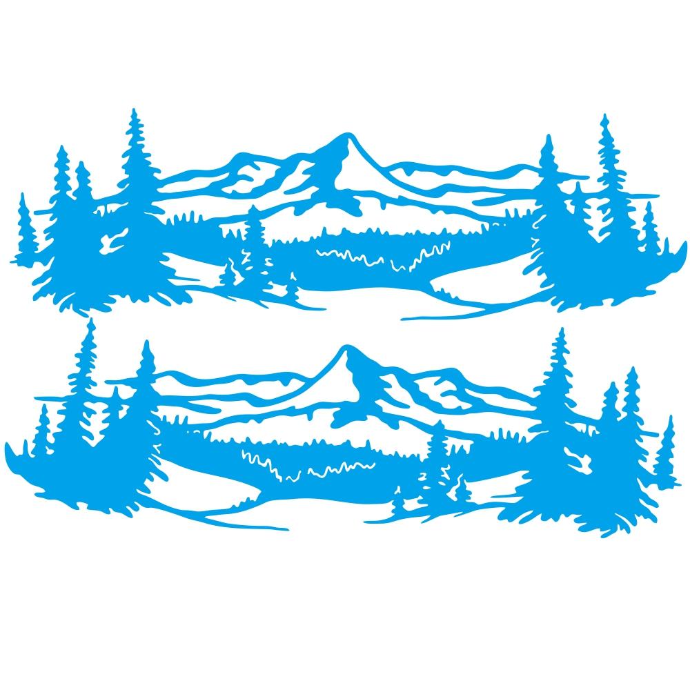 2 Pcs 50 * 150cm Universal Tree Sticker Mountain Scene Northern Great Car Sticker Vinyl Truck Rv Toy Transporter Accessories Vehicles Cars blue