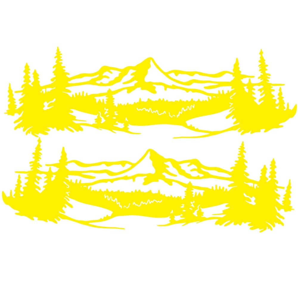 2 Pcs 50 * 150cm Universal Tree Sticker Mountain Scene Northern Great Car Sticker Vinyl Truck Rv Toy Transporter Accessories Vehicles Cars yellow