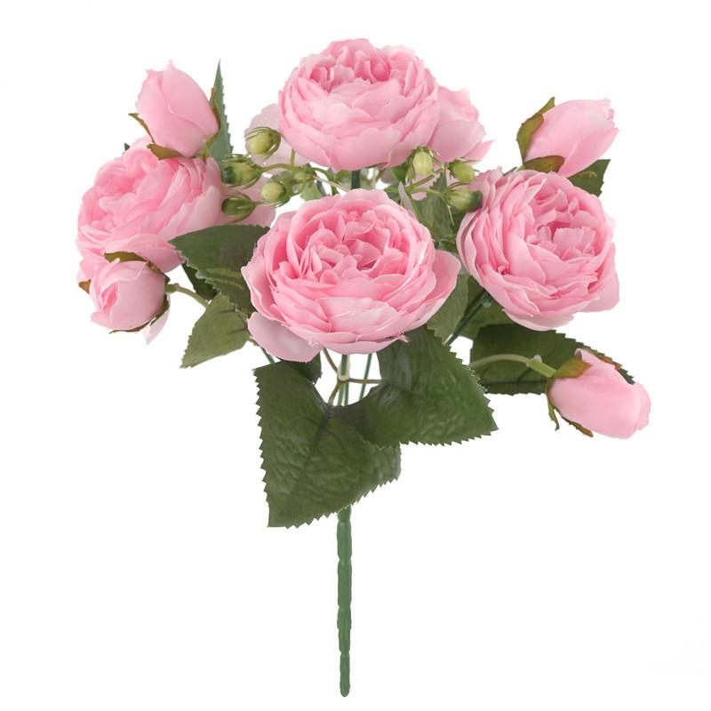 5 Heads Of Bud Peony Artificial Flower Artificial Flower Home Decoration Wedding Decoration Rose Bouquet Flower Wall Vase Arrangement Pink