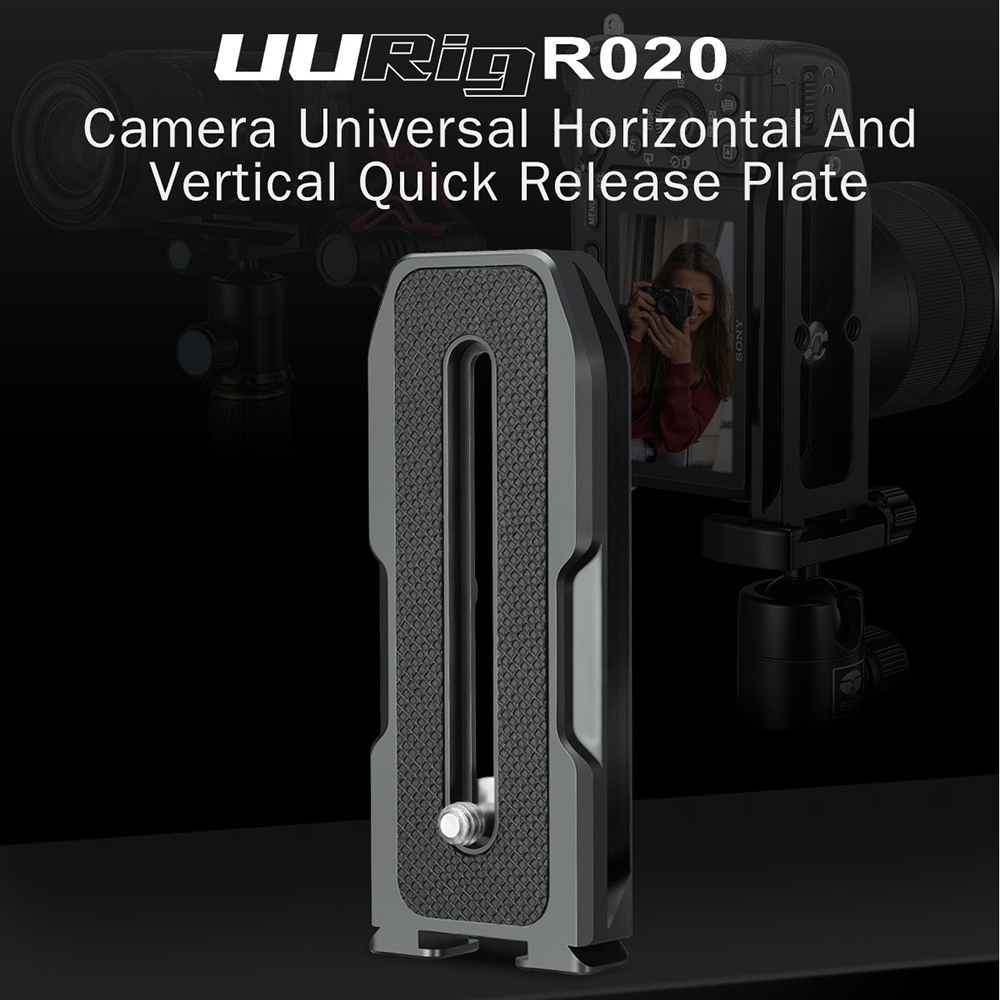 R020 for DSLR Camera Camera Horizontal Vertical Quick Release Plate with Cold Shoe Mount Release Plate Variable Angle Clap black