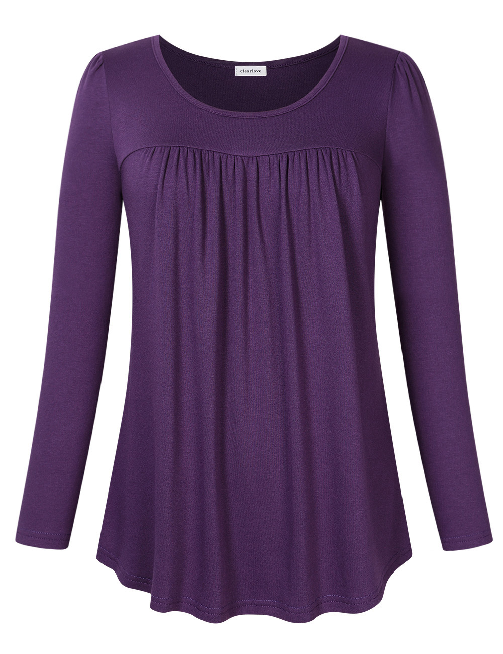 Clearlove Women Scoop Neck Pleated Top Blouse Long Sleeve Tunic Shirt