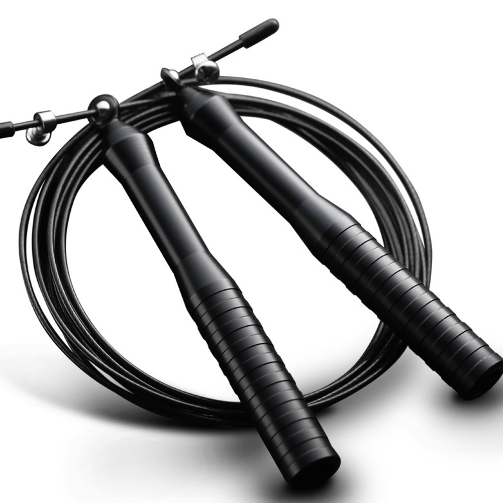 Steel Wire Skipping Rope Adjustable Jumping Rope Aluminum Speed Crossfit Training Workout Exercise Fitness Equipment Black