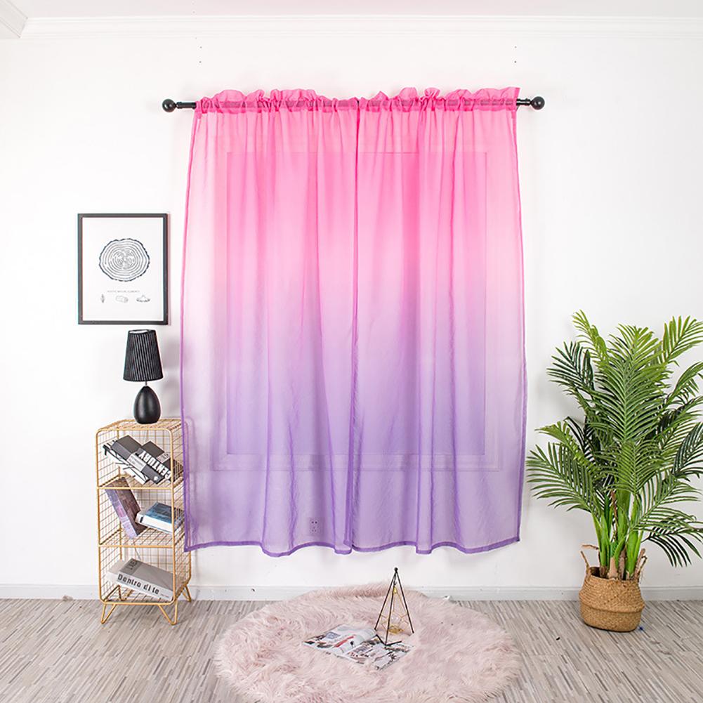 Gradient Color Window Curtain Tulle for Home Bedroom Living Room Kids Room Balcony  Rose purple gradient_1 * 2 meters high