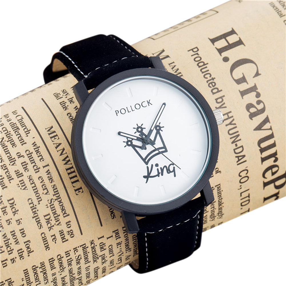 Queen/King Stylish Lovers Quartz Watch Stylish Wristwatch Ornament Gift  KING white dial black band