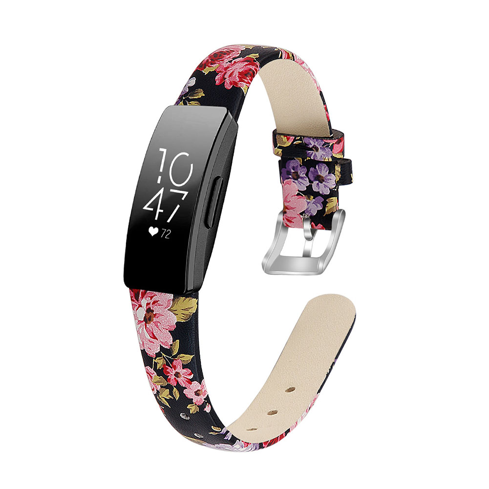 Bracelet Wrist Belt Inspire Pure Color Printing Leather Strap for Fitbit Inspire HR  Black leather powder S code