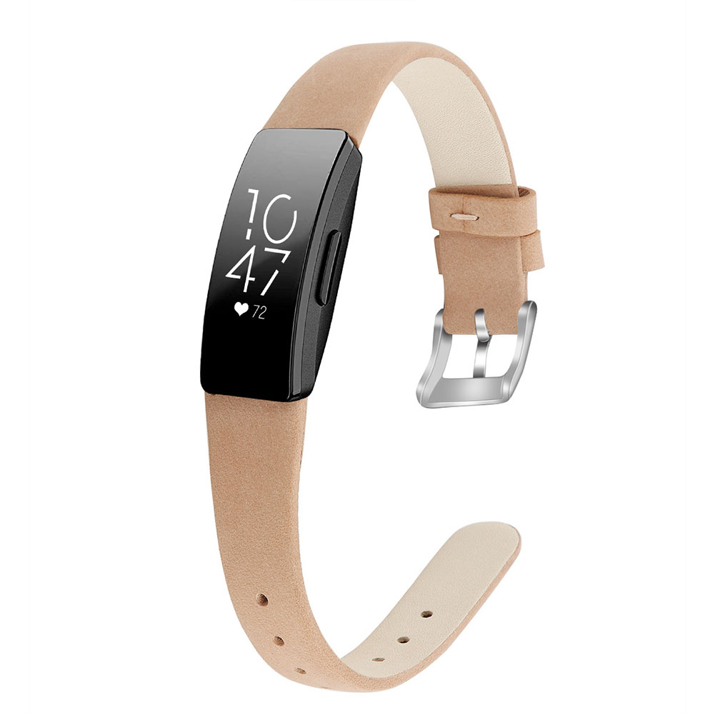 Bracelet Wrist Belt Inspire Pure Color Printing Leather Strap for Fitbit Inspire HR  Frosted brown S code