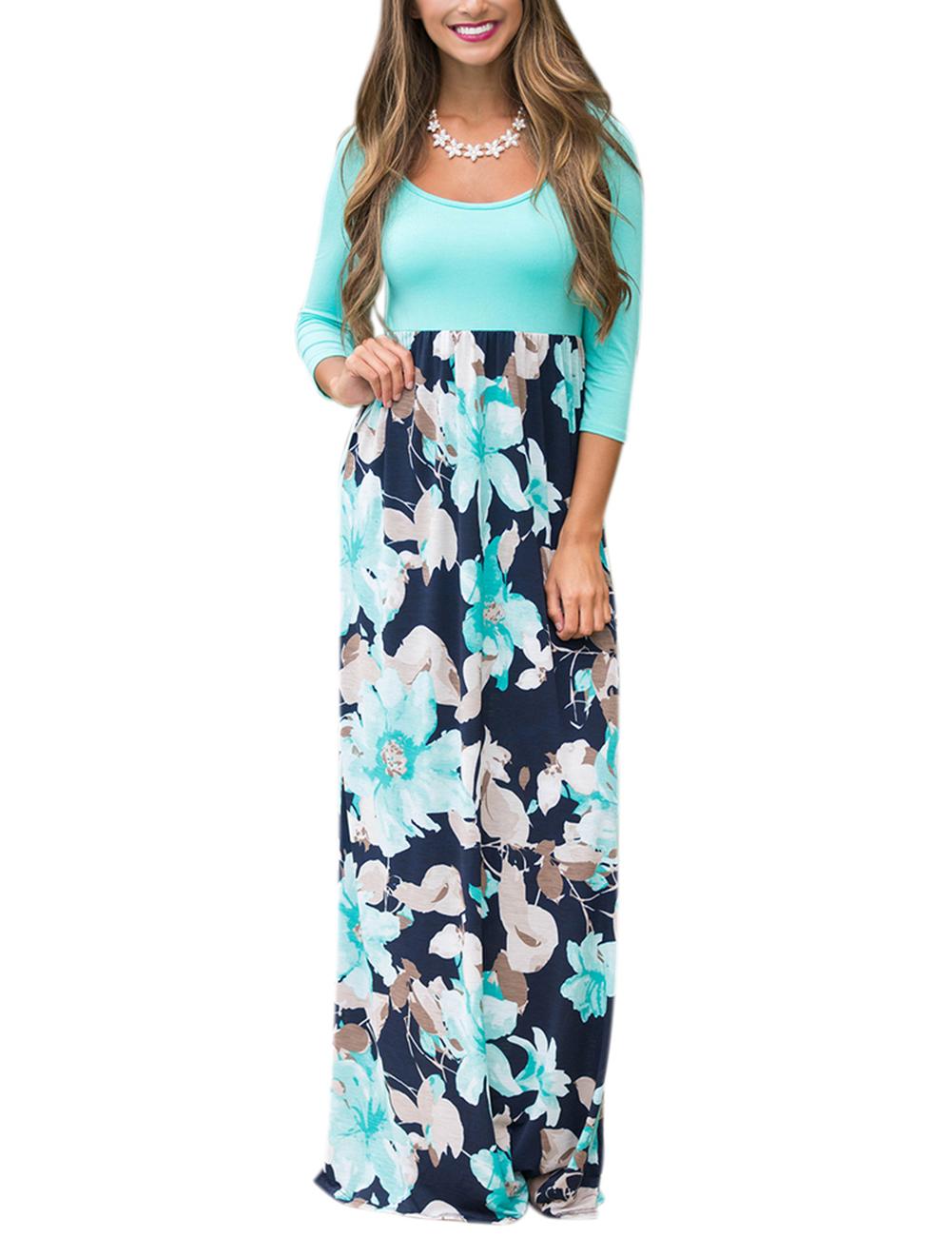 GloryStar Women 3/4 Sleeve Scoop Neck Spliced Floral Boho Maxi Holiday Dress L