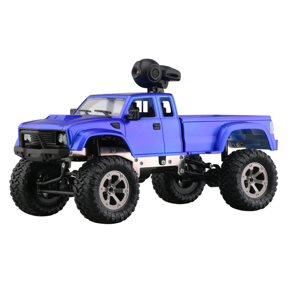 WiFi 2.4G Remote Control Car 1:16 Military Truck Off-Road Climbing Auto Toy Car Controller Toys WIFI blue hollow tire with camera_1:16