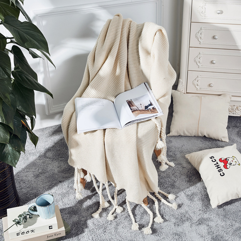 Nordic Style Throw Blankets with Knitted Tassels for Sofa Sleeping Bed End Cover Beige