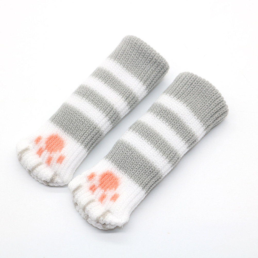 Cute Table Leg Pads Double Layer Thicken Claw Shape Chair Table Leg Cover Light gray Strip_Suitable for circumference 7-18 cm