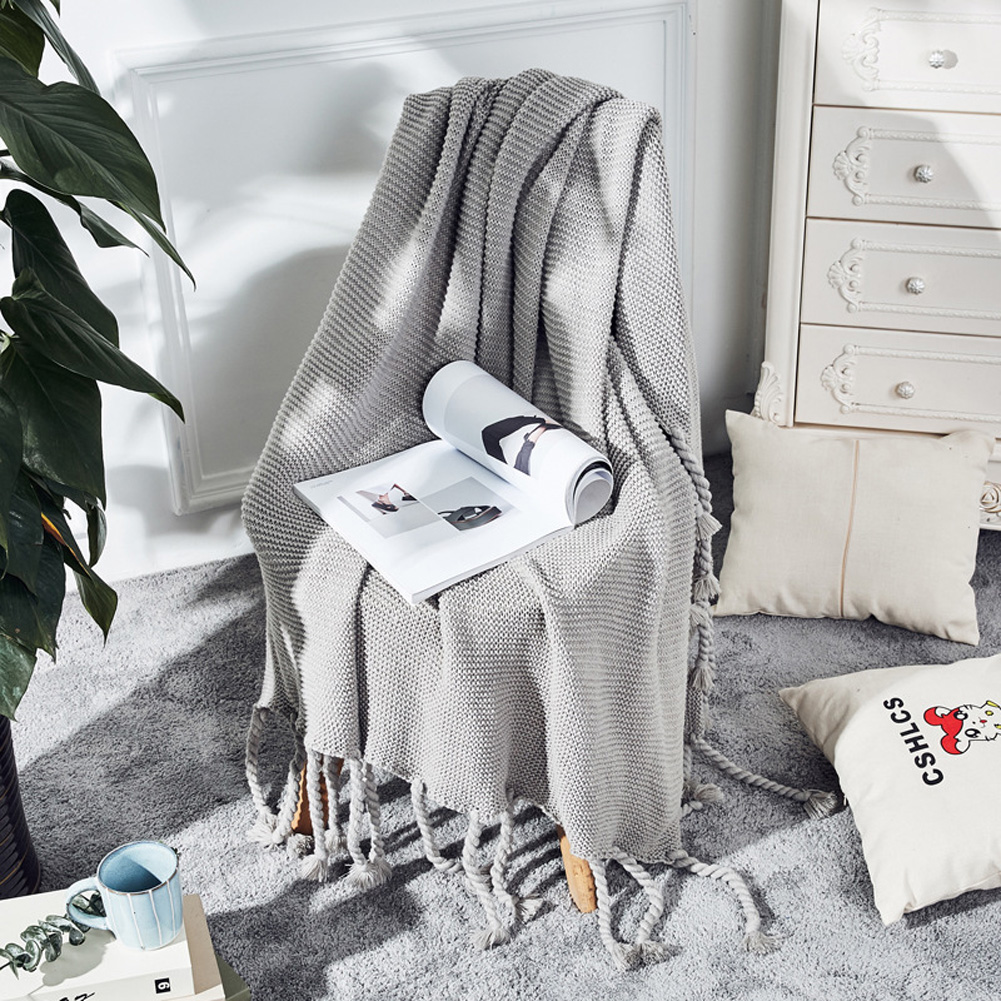 Nordic Style Throw Blankets with Knitted Tassels for Sofa Sleeping Bed End Cover Light gray