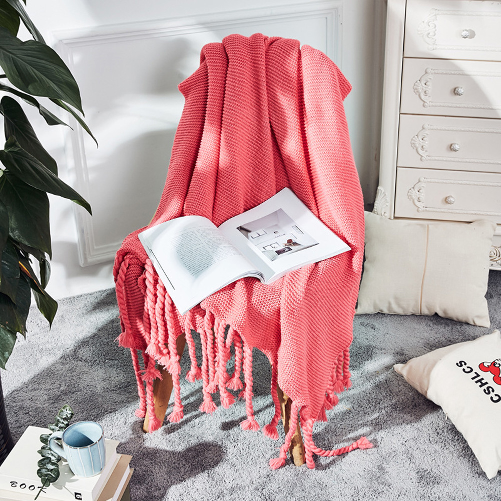 Nordic Style Throw Blankets with Knitted Tassels for Sofa Sleeping Bed End Cover Pink