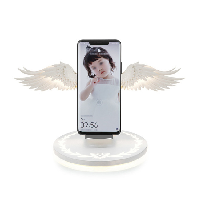 Angel Wings Qi Wireless Charge Dock 10W 3.0 Fast Charger Type C for iPhone X XR 8 Plus Smasung S9 S10 Plus for Huawei P30 Xiaomi As shown