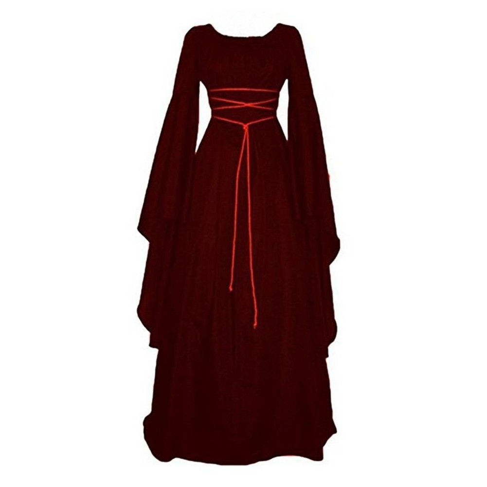 Female Royal Style Long Dress Long Sleeve Round Collar Irregular Cosplay Dress for Halloween Party Red wine_L